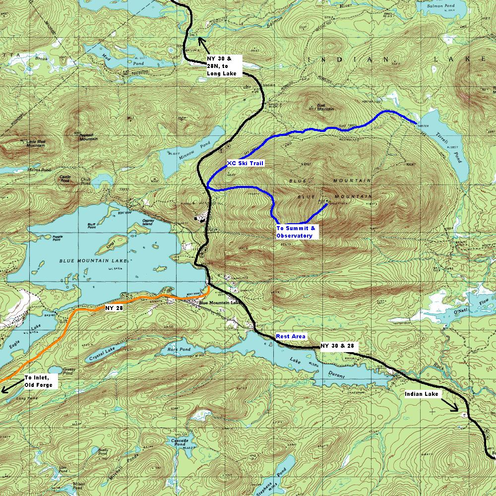 Topographic Map Of A Mountain.Ny Route 28 Central Adirondack Trail Blue Mountain Lake Area