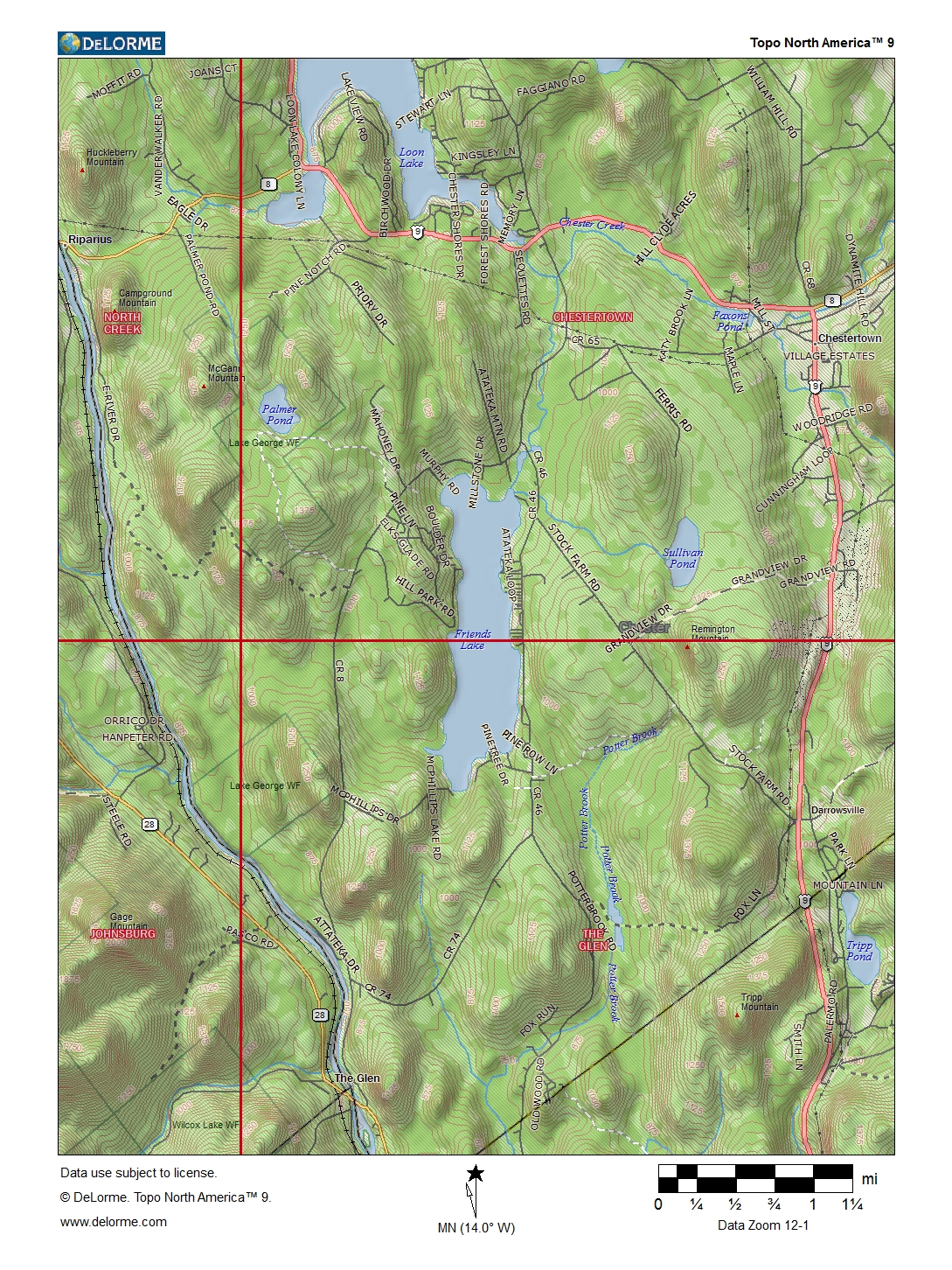 Ny Route 28 Central Adirondack Trail Friends Lake Topographic Map