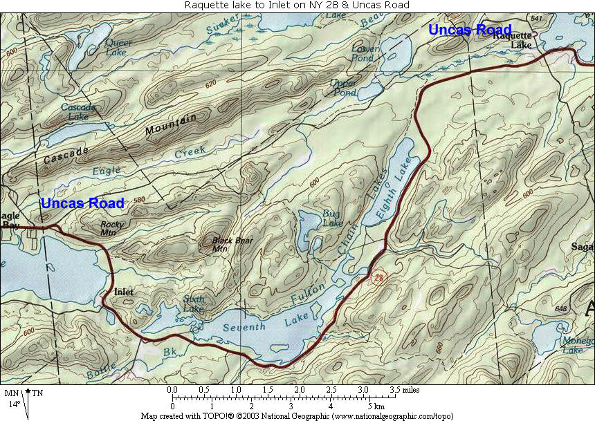Raquette Lake to Inlet & Eagle Bay Topographic Map