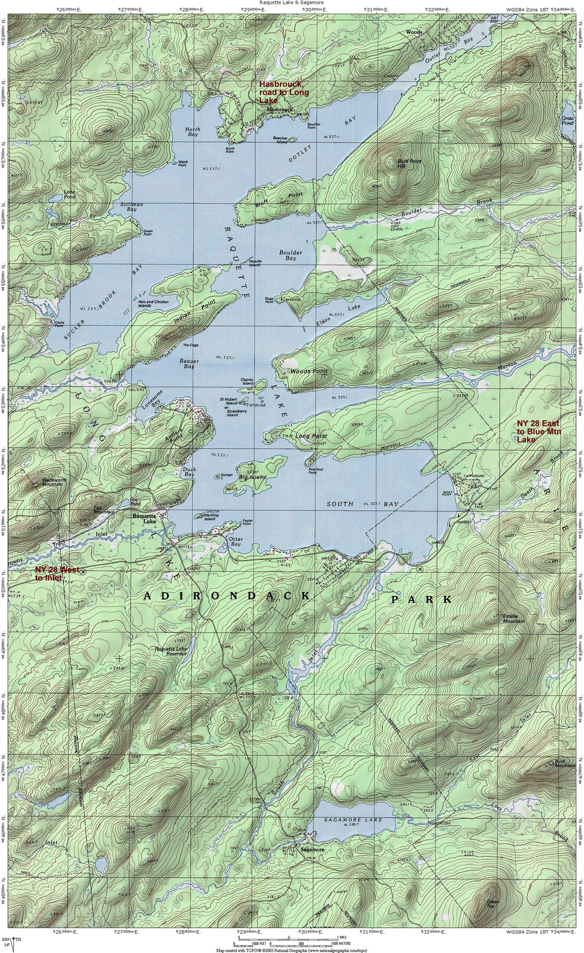 Raquette Lake, Great Camp Sagamore & Hasbrouck Topographic Map