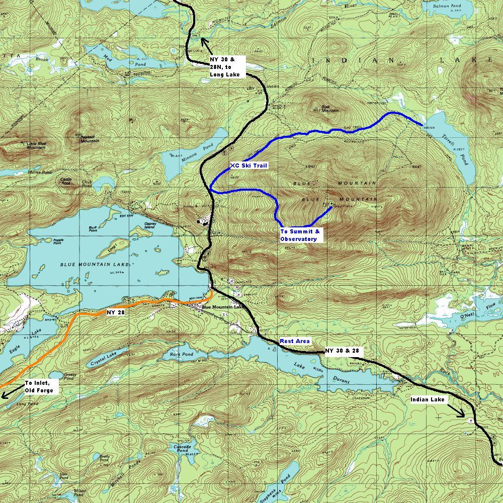 blue mountain lake ny map Ny Route 28 Central Adirondack Trail Blue Mountain Lake Area blue mountain lake ny map